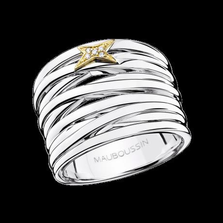 Kiff & Kiss Ring , silver, yellow gold and diamonds