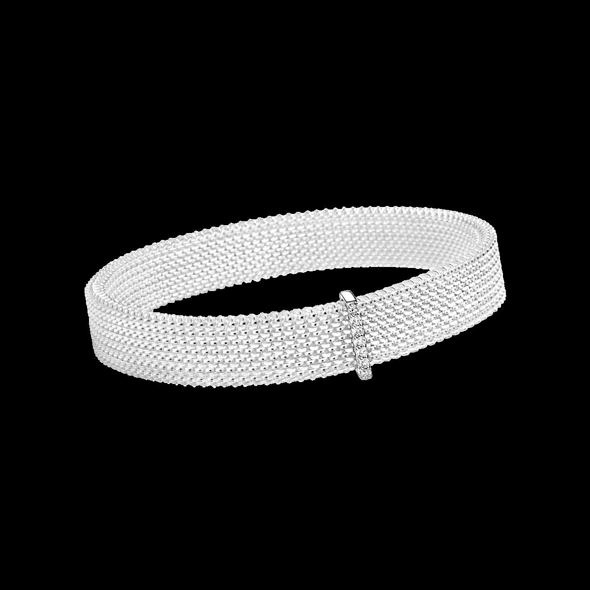 Bracelet Moi non plus, acier blanc , or blanc et diamants