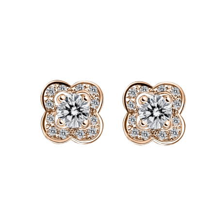 Chance of Love Earrings , pink gold and diamonds