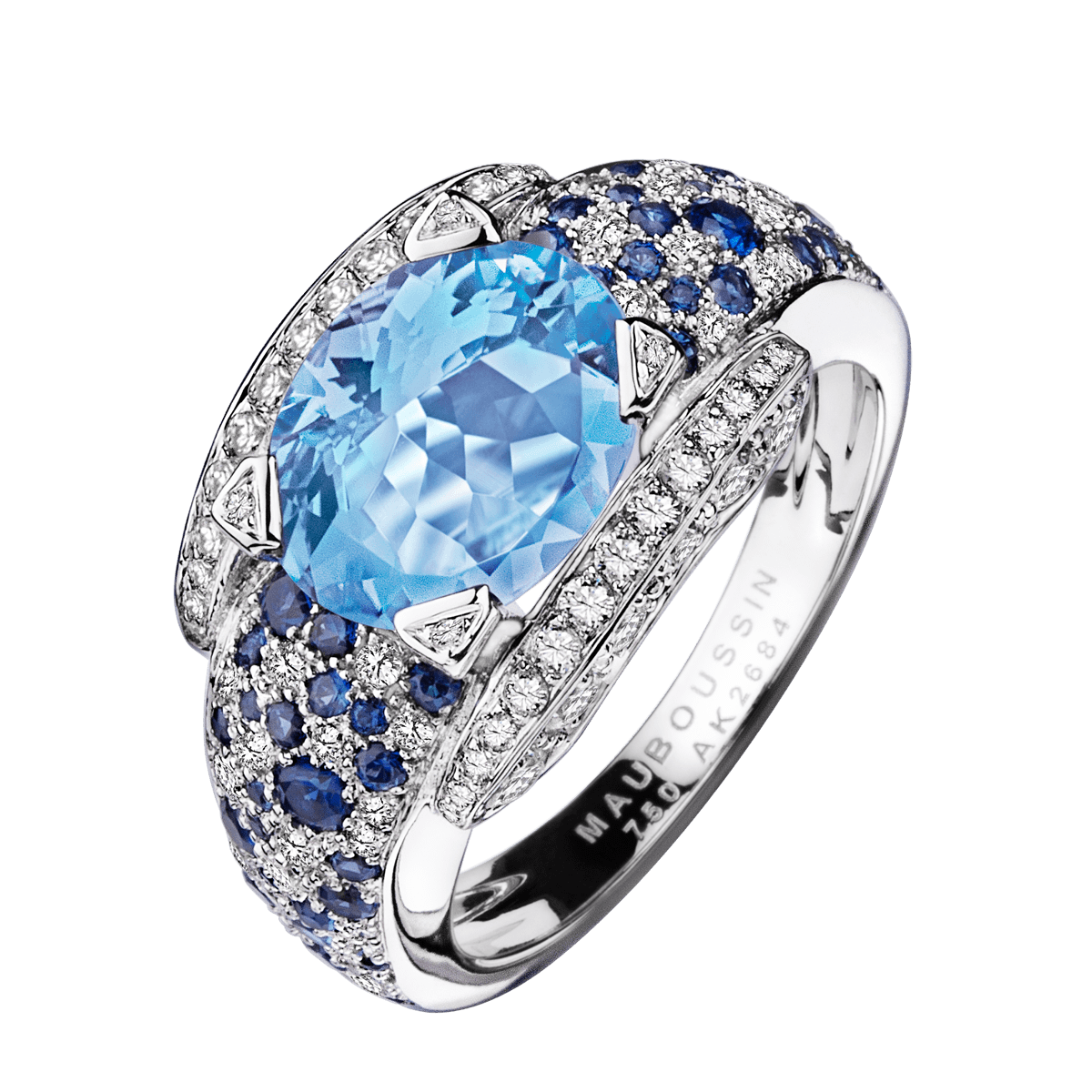 Souvent Bague Eternité Elégance,or blanc, Aigue Marine et diamants  QG47