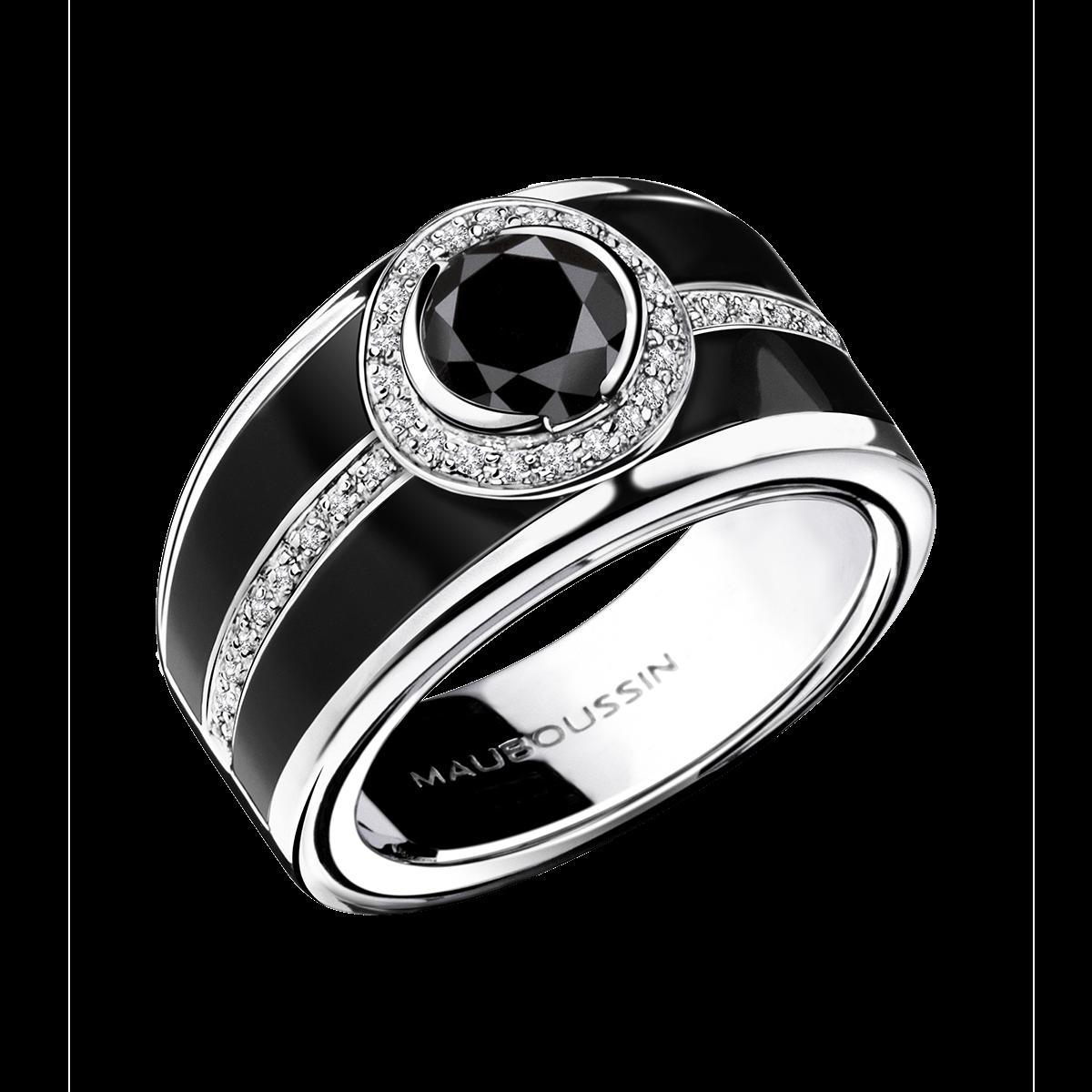 Top Bague L'Oeuvre Noire, or blanc, diamant noir et laque noire  RX16