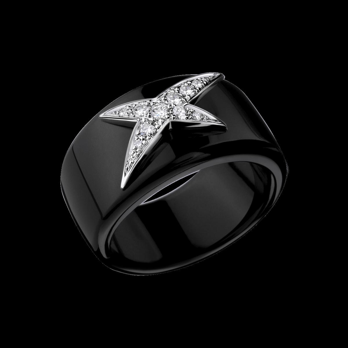 bague ceramique noir diamant femme bijoux la mode. Black Bedroom Furniture Sets. Home Design Ideas