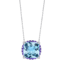 Pendentif couleur d'amour,or blanc, Topaze, Améthyste, diamants