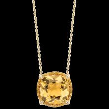 Pendentif couleur d'amour, or jaune, citrine, saphirs orange, diamants