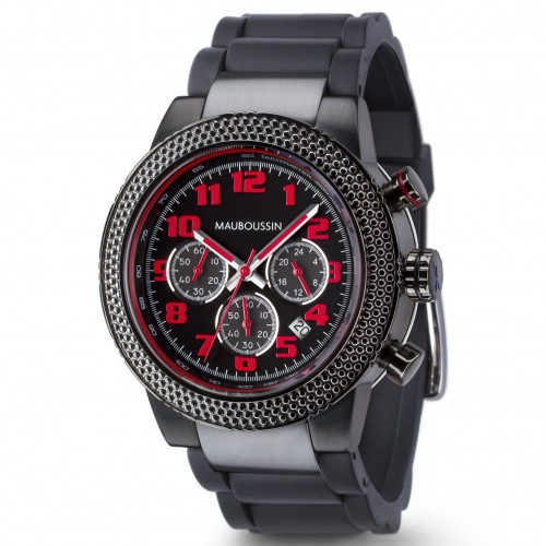 Montre-First_day_watch-rouge_et_noire-bracelet_visible-caoutchouc-500ko