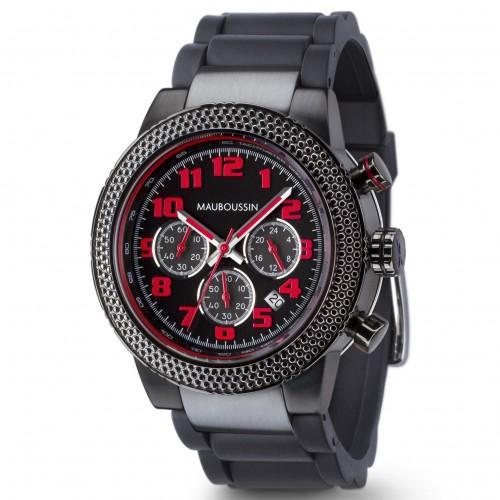 Montre-First_day_watch-rouge_et_noire-bracelet_visible-caoutchouc-500ko